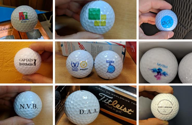 печать на гольф мячах russiangolfer